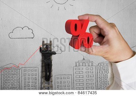 Hand Holding Red Percentage Sign With Businessman Drawing Trend Chart