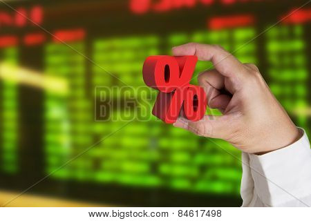 Hand Holding 3D Red Percentage Sign With Display Board