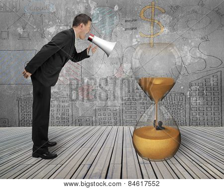 Businessman Using Megaphone Yelling At Man Flooded In Hourglass
