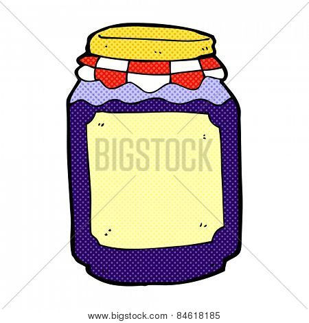 retro comic book style cartoon jar of blueberry jam