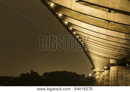 The underside details of a bridge