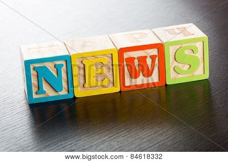 Colorful Childrens Blocks Spelling The Word News