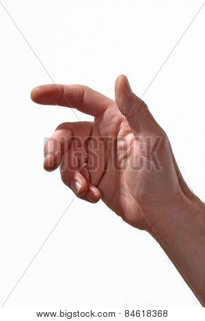 male hand pointing isolated on White background.