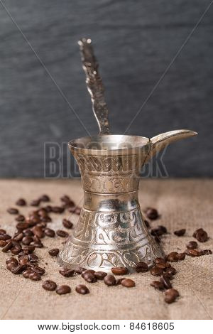 Coffee Pot Turk And  Coffee Beans