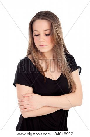 Sad young woman isolated on a white background