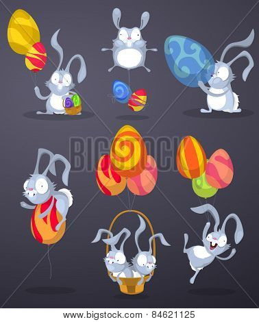 Easter rabbits with eggs in the form of balloons