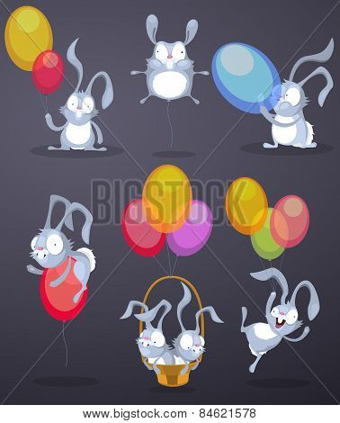 Funny rabbits with balloons