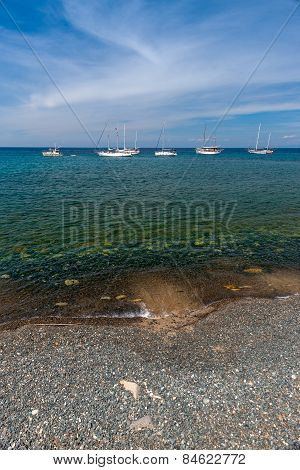 beautiful seascape with ships and yachts