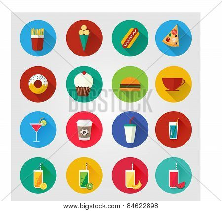 Food And Drinks Vector Icons.