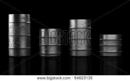 Four Oil Barrels On Dark Background