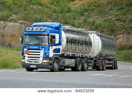 Scania R500 Tank Truck On Highway Intersection