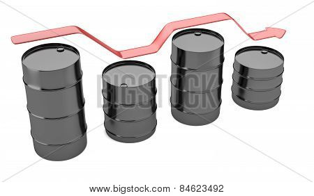 Four Oil Barrels With Decreasing Up Red Arrow