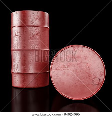 Oil Barrel On Dark Background