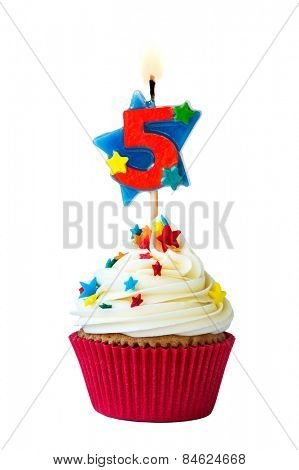 Cupcake with number five candle