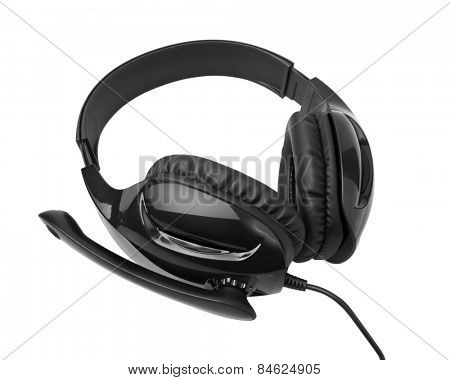 Headphones with a microphone isolated on white background
