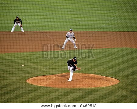 Athletics Boof Bonser Throws A Fastball In A Late Inning With Runner On 2Nd Taking Lead