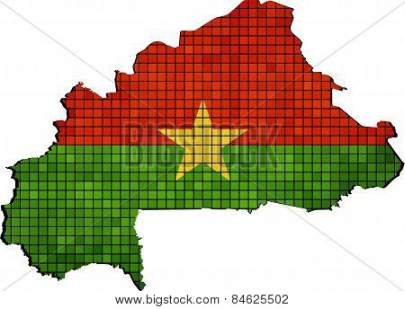 Burkina Faso map with flag inside