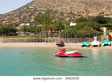 Jet Ski At The Beach Of Luxury Hotel, Crete, Greece