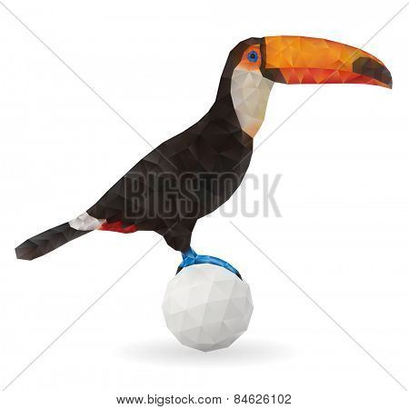 Cute Toucan Sitting on a Ball. Vector Low Poly Illustration.