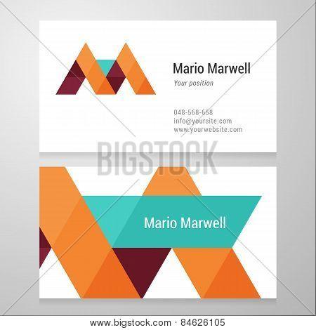 Modern Letter M Business Card Template