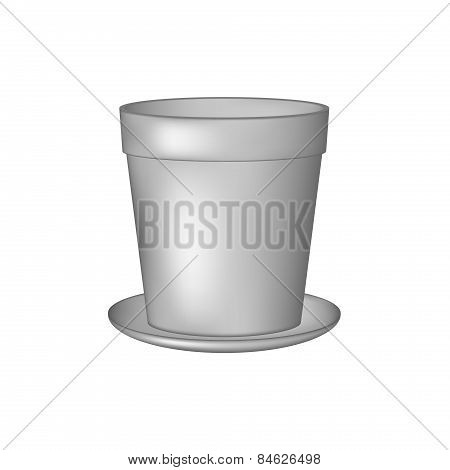 Empty flowerpot in grey design
