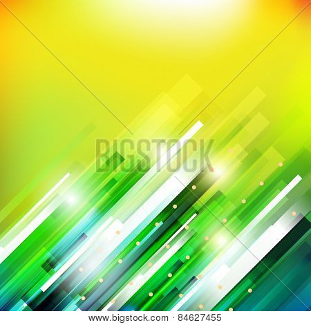 Abstract technology  growing green lines illustration