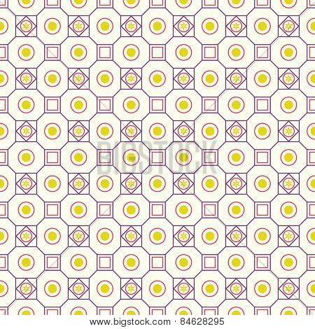 Purple Retro Flower Circle And Square Seamless Pattern