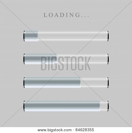 Gray Loading Bars set with shine