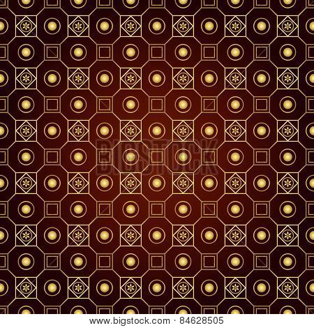 Gold Retro Flower Circle And Square Seamless Pattern