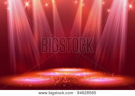 Spotlights on stage with smoke  light.