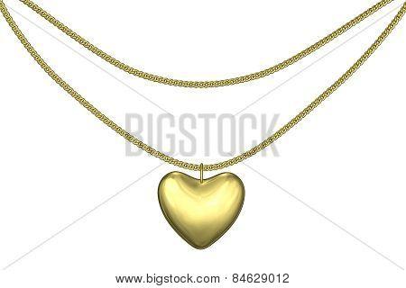 Golden Pendant Heart