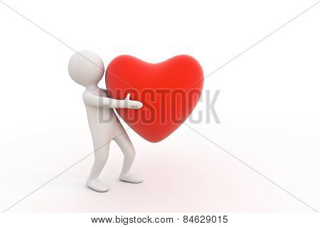 3D Small Person And Red Heart