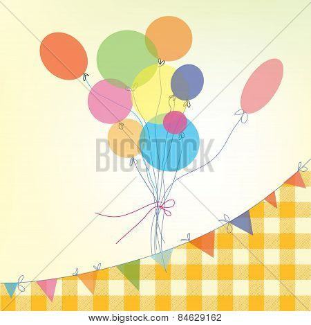 Holiday background with balloons bunting flags