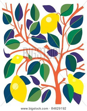Decorative card with lemons and leaves