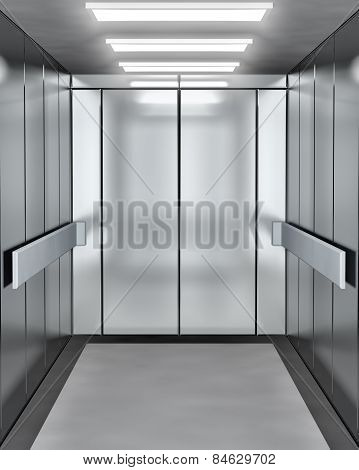 Modern elevator with opened door