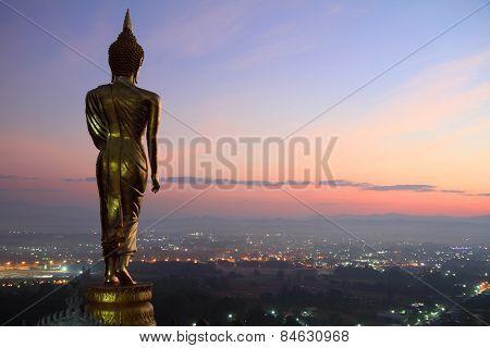 behind Buddha statue
