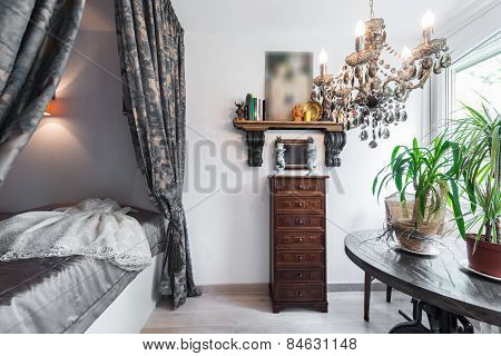 Bedroom interior with canopy bed