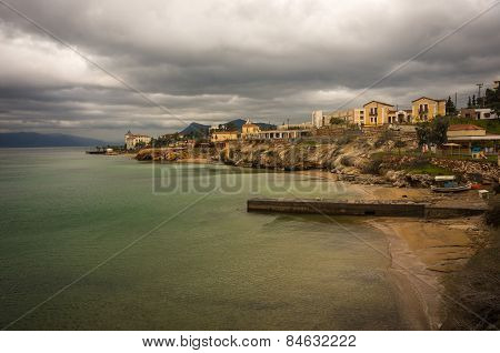 Cityscape On The Seashore In Loutra Edipsou, Evia, Greece