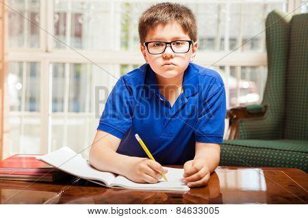 Kid Doing Some Homework