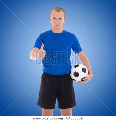 Soccer Player With A Ball Thumbs Up Over Blue
