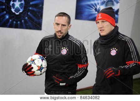 Franck Ribery And Bastian Schweinsteiger Of Bayern Munich