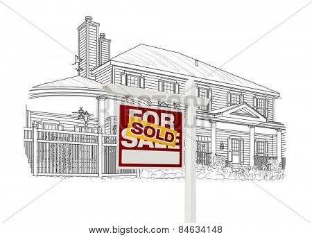 Custom House and Sold Real Estate Sign Drawing on White Background.