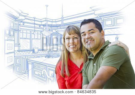 Happy Mixed Race Couple Over Custom Kitchen Design Drawing on White.
