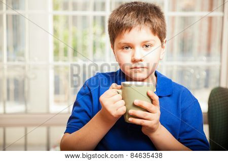 Little Boy Drinking Coffee