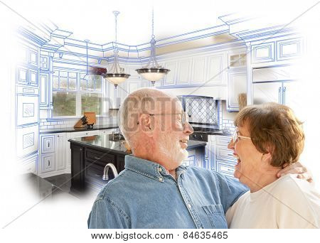 Happy Laughing Senior Couple Over Kitchen Design Drawing and Photo Combination on White.