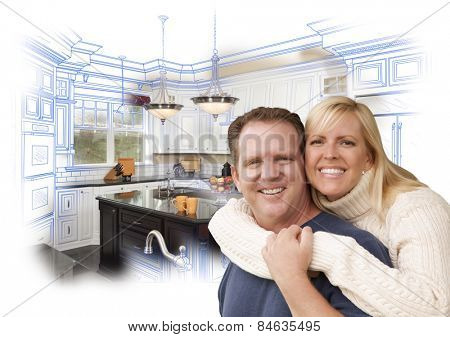 Happy Couple Hugging with Custom Kitchen Drawing and Photo Behind on White.