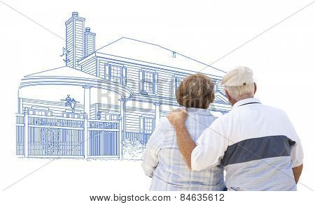 Curious Embracing Senior Couple Looking At House Drawing on White.