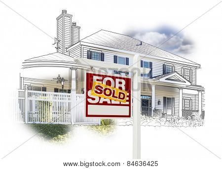 Custom House and Sold Real Estate Sign Drawing and Photo Combination on White.