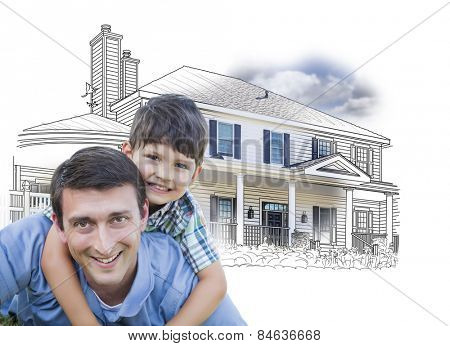 Father and Son Over House Drawing and Photo Combination on White.