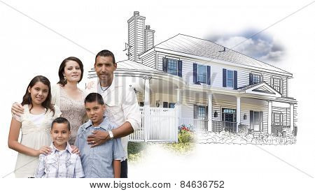 Young Hispanic Family Over House Drawing and Photo Combination on White.